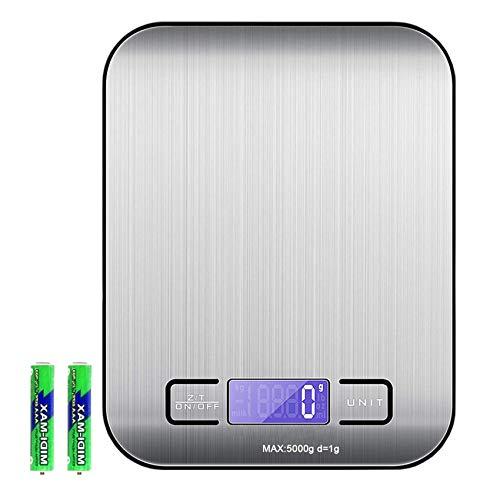 EasyULT Balance de Cuisine Précision Digital,Balance de Cuisine Electronique, Fonction Tare, 5kg/1g Acier Inoxydable, Écran LCD Rétroéclairé,Balance Alimentaire Tactile Sensible(Noir)
