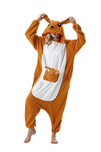 Pyjama Animaux Unisexe Cosplay Halloween Déguisement Adulte Costume Animal Pyjamas Combinaison Cosplay pour Carnaval,Kangourou,S