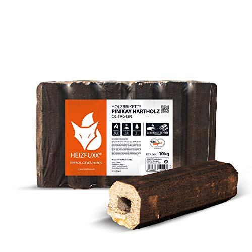 PALIGO HEIZFUXX Holzbriketts Hartholz Pinikay Octagon Kamin Ofen Brenn Holz Heiz Brikett 10kg x 3 Gebinde 30kg / 1 Karton