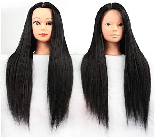 Mannequins de couture reglable Perruque, 16 Pouces Cosmétologie tête Perruque de Cheveux Mannequin Styling Salon de Coiffure modèle de Formation Noir Porte vêtement Mannequin (Color : Black)