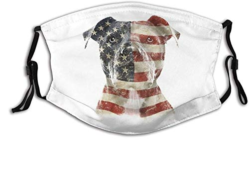 USA Flag Face Mask Bandanas Balaclava, Washable Breathable with 2 Filters, for Men Women &Teenage-Best Pitbull American Flag 11-1 PCS