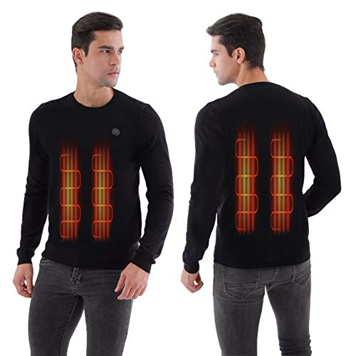 Heated Sweater USB Charging Thermal Underwear for Men Electric Heated Knitted Pullover Sweater(Power Bank is not Included) Black