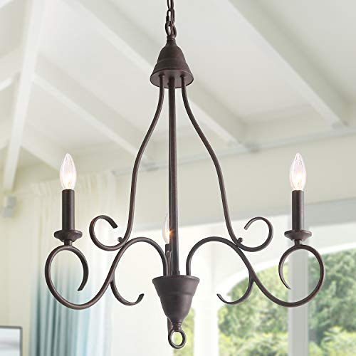 Handmade 3 lights Chandelier with Drum Farmhouse Pendant for Kitchen Island