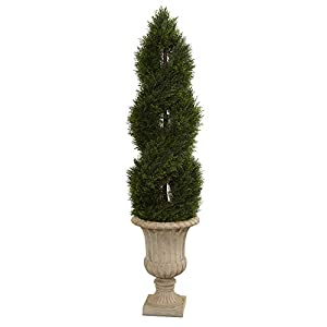 Nearly Natural 5' Double Pond Cypress Artificial Spiral Topiary Urn UV Resistant (Indoor/Outdoor) Silk Trees Green