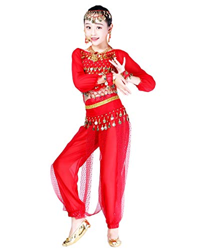 Grouptap Bollywood Indio niños niñas bharatanatyam Manga Larga Danza del Vientre 2 Piezas Rojo kuchipudi niños Disfraces Disfraz (Rojo, 110-130 cm)