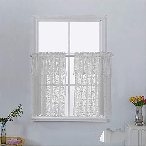 2 Stück Polyester Netzvorhänge mit bestickter, Reiner Farbe Voile Vorhang für Küche Schlafzimmer Badezimmer Wohnzimmer Gartenschrank Bücherregal Waschbecken- White|| 74*90cm