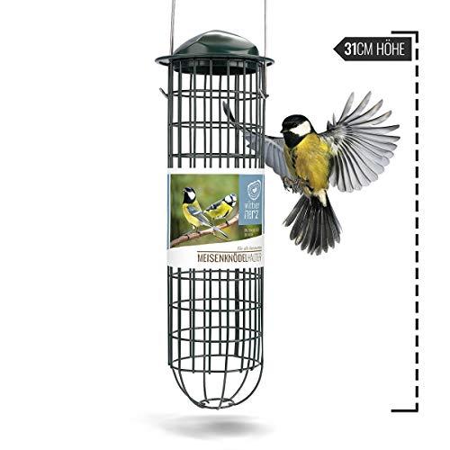 wild dier hart | mezenknodelhouder - voor vogels met roestvrij stalen rooster, voederzuil voor messenbol - Ecologisch vogelvoer zonder net, voor het hele jaar door voer van wilde vogels (groen)
