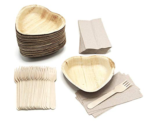 25 Heart Shaped Palm Leaf Plates Set with forks and napkins - Disposable Eco-Friendly Special Occasion Party Supply - I Love You Food Serving Idea