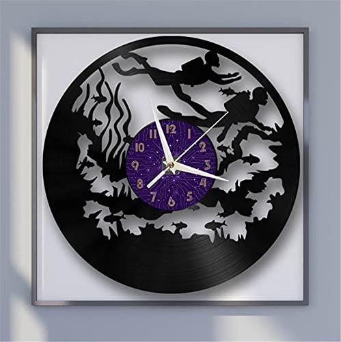 Reloj de Pared de Vinilo de 12 Pulgadas con Tema de Buceo, Reloj de Pared de Vinilo para Cocina, hogar, Sala de Estar, Dormitorio, Escuela (P) sinJuego de Reloj de Pared deVinilo LED- Regalo per