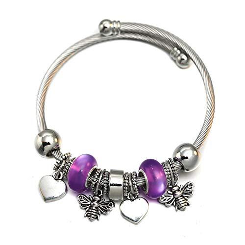 KGMIXL Hermosamente Charm Love Butterfly Pulsera con Cuentas Joyas Ajustable Pulsera Brazaletes Accesorios románticos Moda Mujer Joyería para su Esposa, señoras, mamá