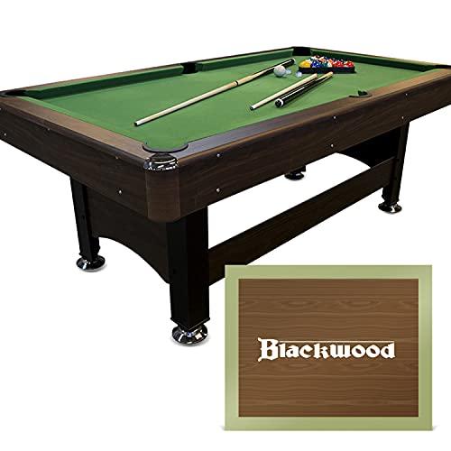 Blackwood Billardtisch Basic 6\' - Pool/Billard-Tisch - Für Kinder & Erwachsene - Inkl. Queue-Set, Kugeln, Dreieck & Kreide - Gesellschaftsspiel für Zuhause – 207,2 x 114,2 x 78,4 cm