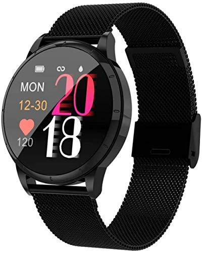 YSSJT Reloj inteligente para mujer, pulsera de ritmo cardíaco y presión arterial, podómetro, recordatorio de ciclo de seguridad, acero negro