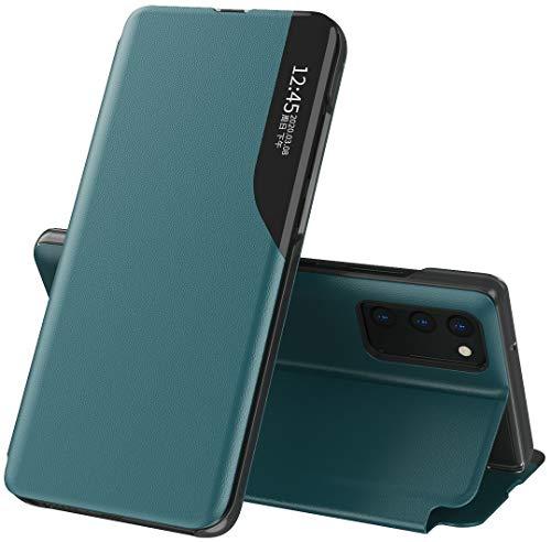 Mking Tech Flip Handyhülle für Samsung Galaxy S20 FE 5G/4G. Redmi Note 8 T/K 20/30 /7A/X Muschelschale/Schlaf/Wach/Smart Holster/Neues Sichtfenster, Leder-Schutz-hülle -Rot