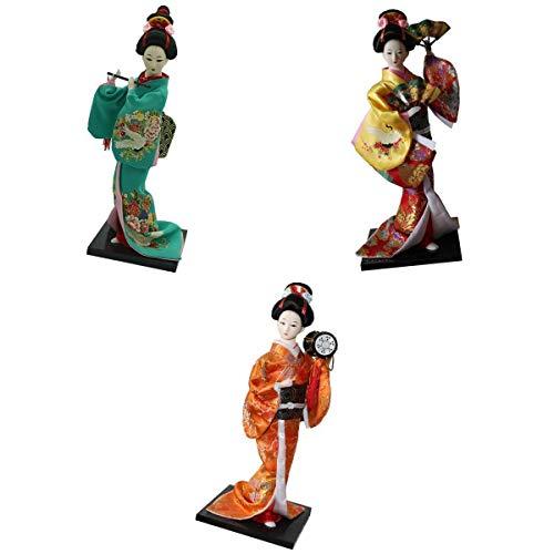 N\C Paquete de 3 Muñecas Japonesas de Kimono Geisha, Decorativa, Coleccionables Artesanales
