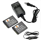 DSTE 2-Pieza Repuesto Batería y DC02E Viaje Cargador kit para Sony NP-BD1 Cyber-shot DSC-G3 DSC-T2 DSC-T70 DSC-T75 DSC-T77 DSC-T90 DSC-T200 DSC-T300 DSC-T500 DSC-T700 DSC-T900 DSC-TX1