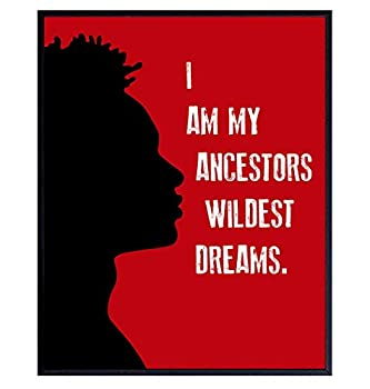 Motivational Black Wall Decor - African American Art - Inspirational Quotes Wall Art for Boys Bedroom Teens Room Living Room Office - Gift for Men Afro Americans - 8x10 Black Power Poster