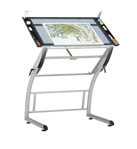 """SD STUDIO DESIGNS Triflex Drawing Table, Sit to Stand Up Adjustable Office Home Computer Desk, 35.25"""" W X 23.5"""" D, Silver/Blue Glass"""