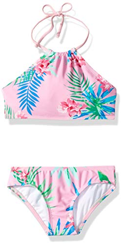 Kanu Surf Girls' Big Mahina Beach Sport Halter Bikini 2-Piece Swimsuit, Leonie Floral Pink, 12