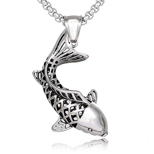 DonDon Herren Halskette Edelstahl 52 cm mit Anhänger Glücksfisch Koi Edelstahl in einem Samtbeutel