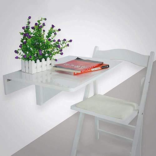 NBVCX Möbel Dekoration Tische Weiß Couchtisch Beistelltische Laptop Tisch Drop Leaf Esstisch Wandmontage Workstation Massivholz und Stuhl Set 60 * 40cm (Farbe Weiß) Holz