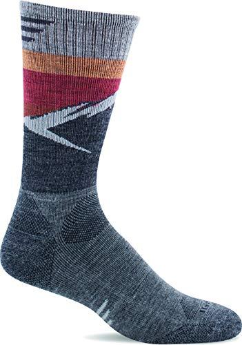 Sockwell Men's Modern Mountain Crew Moderate Compression Sock, Grey - L/XL