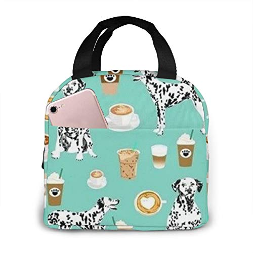 Portable Lunch Bag Coffee Best Dalmatian Dog Printed Insulated Tote Bag Lunch Box Handbag Reusable