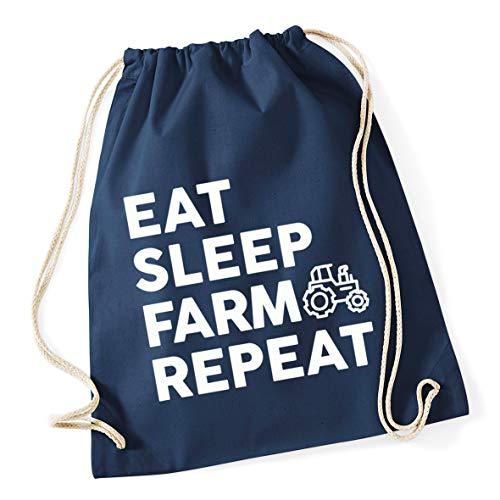 Hippowarehouse Eat Sleep Farm Repeat Drawstring Cotton School Gym Bag 37cm x 46cm, 12 litres