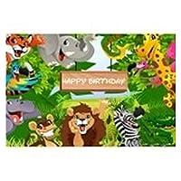 熱帯ジャングルの森の野生動物のサファリパーティー生まれたばかりの赤ちゃんのシャワーの誕生日背景ビニール写真の背景 (Color : 5, Size : Vinyl 270x180cm)