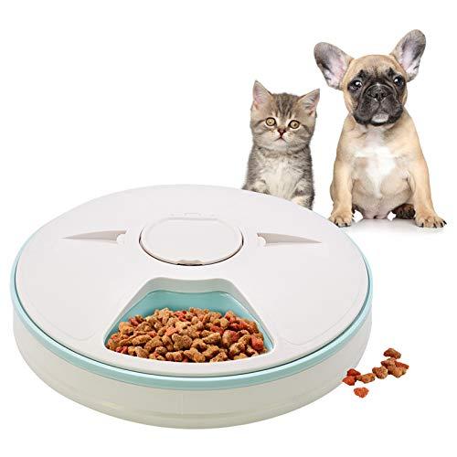 Mangiatoia automatica per animali domestici per gatti cani conigli e piccoli animali, 6 vassoi per pasti, cibo asciutto e bagnato con display LCD timer digitale programmabile controllo delle porzioni