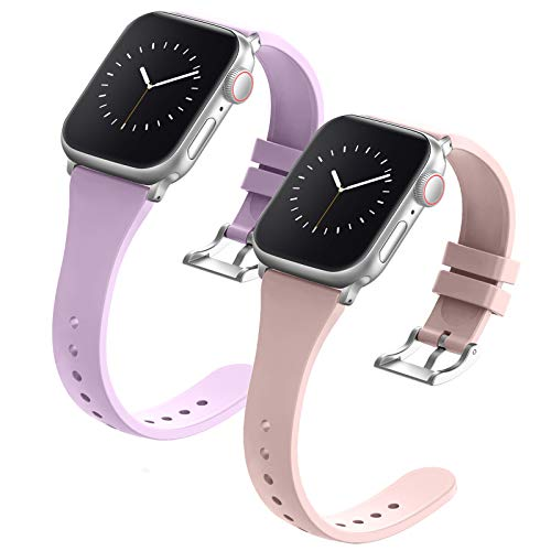 Compatible with Apple Watch Bands 38mm 40mm 42mm 44mm for Women Men, Adepoy Soft Silicone Narrow Slim Replacement Sport Wristbands for iWatch Series 6 5 4 3 2 1 SE (38mm 40mm, Small Lavender Pink)