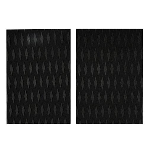 F Fityle 2 Piezas De Tablas De Surf Almohadillas De Tracción Antideslizantes Almohadilla De Cola De Agarre De Diamante Duradero - Negro
