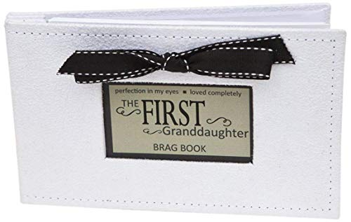 Grandparent Gifts 1st Granddaughter Brag Book white faux-suede Hold 32 4x6 image