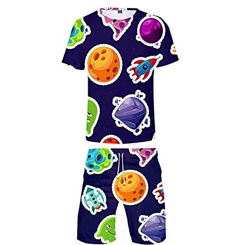 Verano Unisex 3D Camiseta Estampada Divertida Camisetas de Manga Corta y Pantalones Cortos de Natación Troncos de Playa Pantalones de Gimnasio de Surf con Cordón para Vacaciones(Azul 3,L)