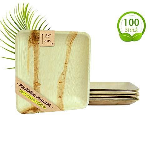 The Green Matter Bio Einwegteller aus Palmblatt, 100 Stück, eckig, 25 x 25 cm, nachhaltig verpackt, biologisch abbaubar, Partyteller, Palmblattgeschirr, Partygeschirr, Bio Einweggeschirr