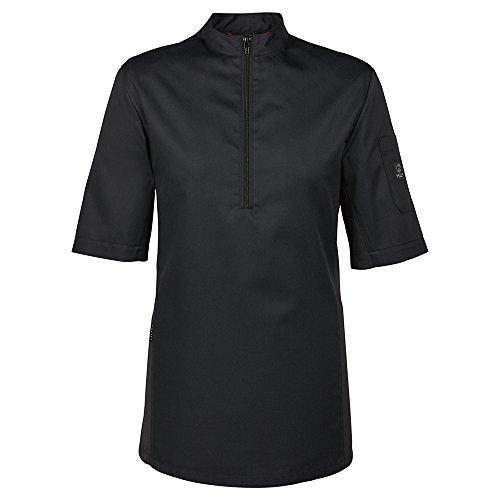 GREIFF Herren Halbarm Kochshirt mit Jersey-Einsatz | Slim Fit | Cuisine Premium | Style 5574 | Schwarz | Gr: M