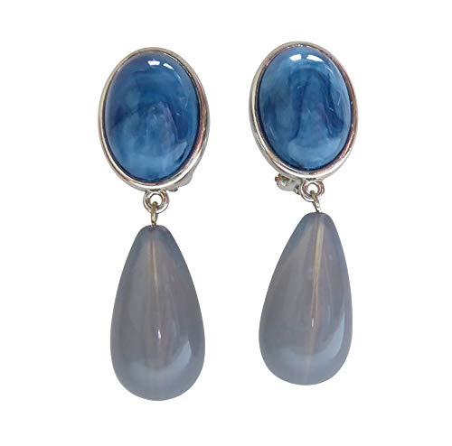 Leichte sehr große Ohr-Clips silber-farben blau marmorierter Stein Anhänger blau-grau Tropfen Designer JUSTWIN klassisch chic Party Fest Geschenk
