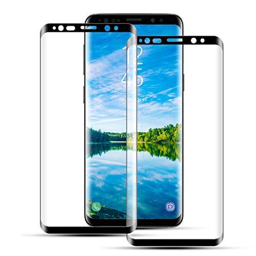 Mriaiz Panzerglas Schutzfolie für Samsung Galaxy S9 Plus, (2 Stück) Ultra-Klar 3D Volle Abdeckung 9H Härte Panzerglasfolie mit Bläschenfrei, HD Displayschutzfolie für Samsung Galaxy S9 Plus
