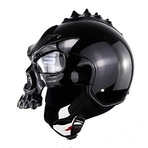 Motocicleta Open Face Half Skull Helmet Motorbike Jet Bobber Chopper Crash Cruiser Casco Incorporado UV Glasses Detachable Máscara Dot Certified Moto Dark Knight,L