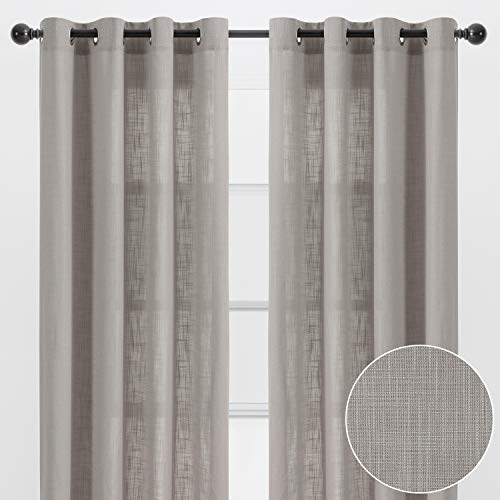 Chanasya 2-Panel Soft Textured Semi Sheer Grommet Curtains for Window Living Room Bedroom Kitchen Patio Office - Natural Light Filtering Privacy Window Treatment Drapes - 52 x 96 Inches - Taupe