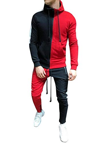 Mens Tracksuit Set Full Zipper Patchwork Hoodie Hip Hop Premium Slim Fit Track Jogger Pants with Side Taping (3XL, Only Pants Red Black)