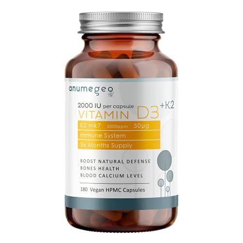 Anumegeo Vitamin D3 2000 IU + K2 MK7 50µg – Vitamin D Cholecalciferol Boosts The Immune System & Increase Calcium Absorption - 180 Vegan HPMC Capsules, 6 Months Supply