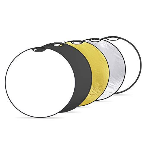 Neewer 5-in-1 tragbare runde 110cm Lichtreflektor Klapp Multi Scheibe mit Griff und Tasche für Studiofotografie-Beleuchtung und Außenbeleuchtung-Gold/Silber/Weiß/Schwarz/Durchscheinend