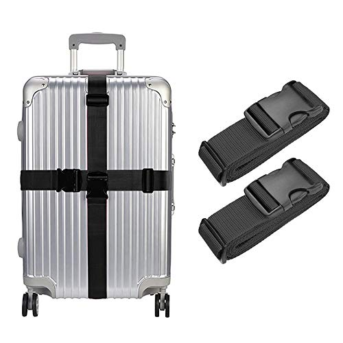 Lcgs 2 Pack Luggage Straps, Heavy Duty Non-Slip Adjustable Travel Accessories Suitcase Baggage Belts Bag Bungee