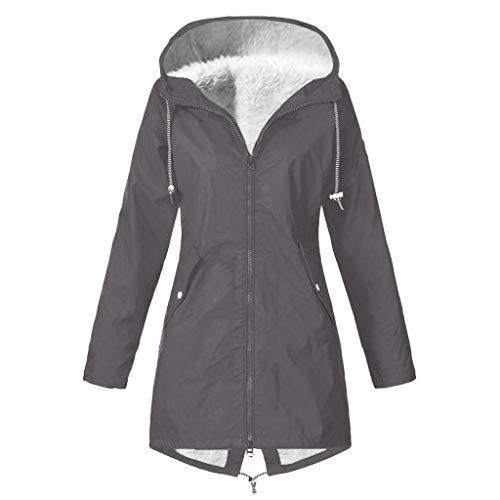TIMEMEAN Fleece Womens Waterproof Jacket Outdoor Hooded Windproof Coat Gary Size 18