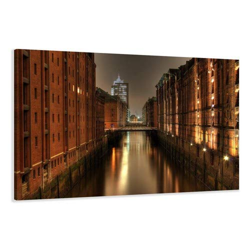 Visario Leinwandbilder 5051 Bild auf Leinwand Hamburg, 120 x 80 cm