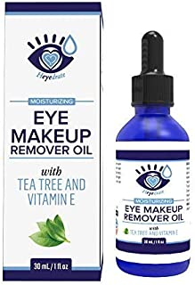 Gentle, Waterproof Eye Makeup Remover - Moisturizing & Organic with Vitamin E and Tea Tree Oil to Support Dry, Itchy Eyelids Caused by Demodex, Blepharitis, Dry Eyes, Rosacea (1-Pack)
