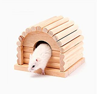 UChic Small Animal Mouse Natural Wood Hamster House Removable Toy For Gerbil Hamster Mouse Rabbit Wood Color Pet Product Accessories