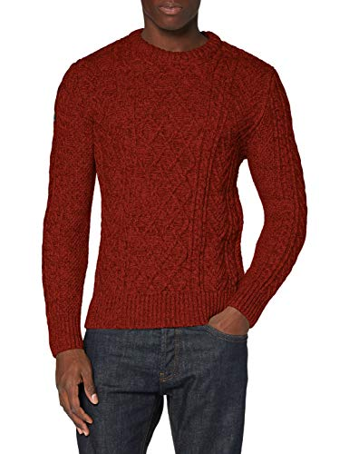 Superdry Jacob Cable Crew suéter, Arizona Orange Twist, L para Hombre
