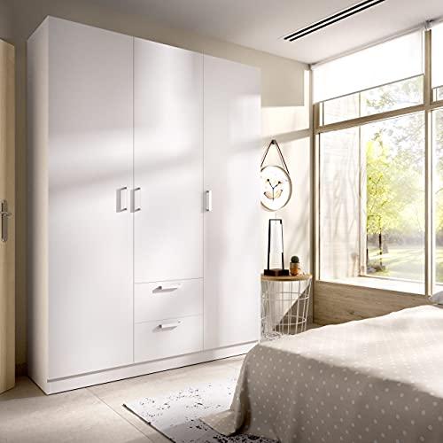 Armario de 3 Puertas y 2 cajones Maxi 150cm Blanco