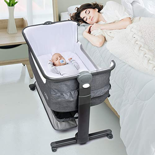 Baby Bassinet, Bedside Sleeper for Baby, Easy Folding Portable Crib with Storage Basket for Newborn, Bedside Bassinet, Comfy Mattress/Travel Bag Included